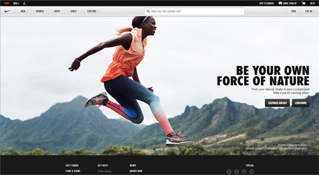 Nike website with large images and text