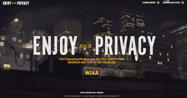 Norton website with Privacy text over large image