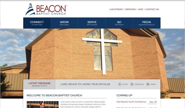 Screenshot of the Beacon Baptist Church Website