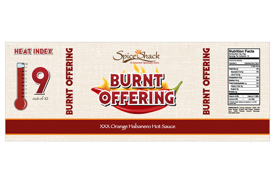Spice Shack Product Label