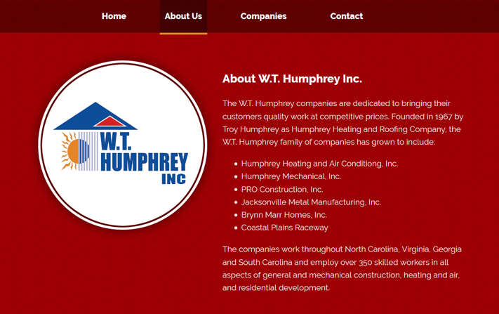 WT Humphrey Inc Web Design