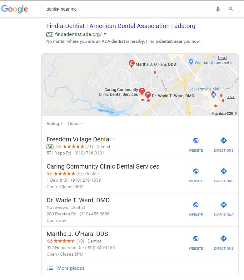 Local search result sample