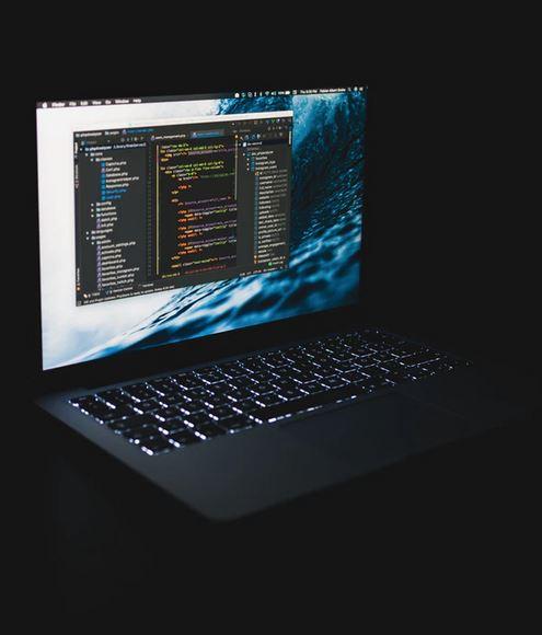 dark screen with code
